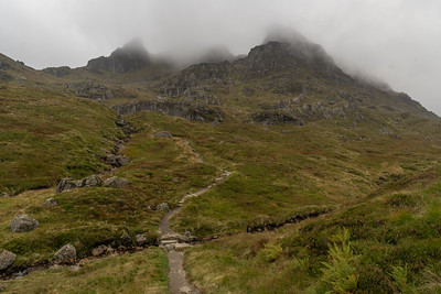 The Cobbler still veiled in cloud - picture taken from where the path branches off