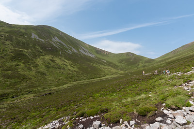 After the second munro, descending into the Beach an Fhiodha and from there into the glen for the return