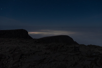 Starry sky at 4:20am and the lights of Fort William giving a glow to the inversion clouds