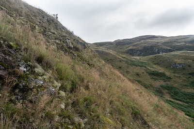I went up from the Witches Craig camping along a steep rough slope