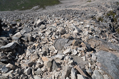 The loose rock made descending this slope really arduous