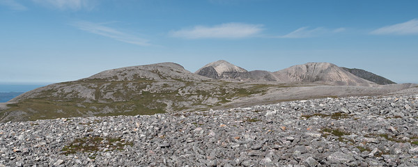 The ridge of Foinaven coming into view