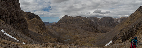 Looking back at Sgòrr Ruadh while ascending the cree slope