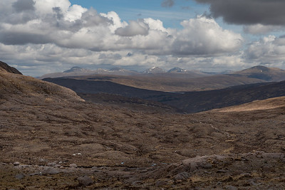 The lowland track going east with the Fannichs on the horizon