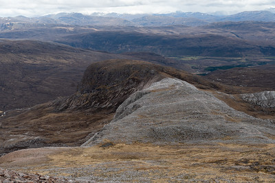 Looking across Meall nan Ceapairlean to where our cars are parked in the distance