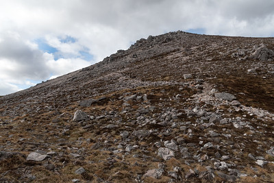 Coming down along the scree slope