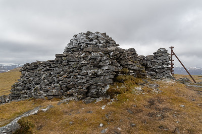 Large ice covered summit cairn