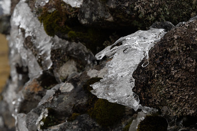 Melting ice on the summit cain