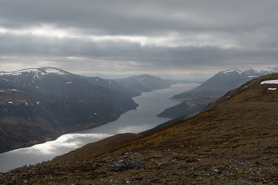 Ben Bheòil and Ben Alder on the right and Loch Ericht on the left