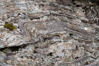 Strongly deformed metamorphic rock