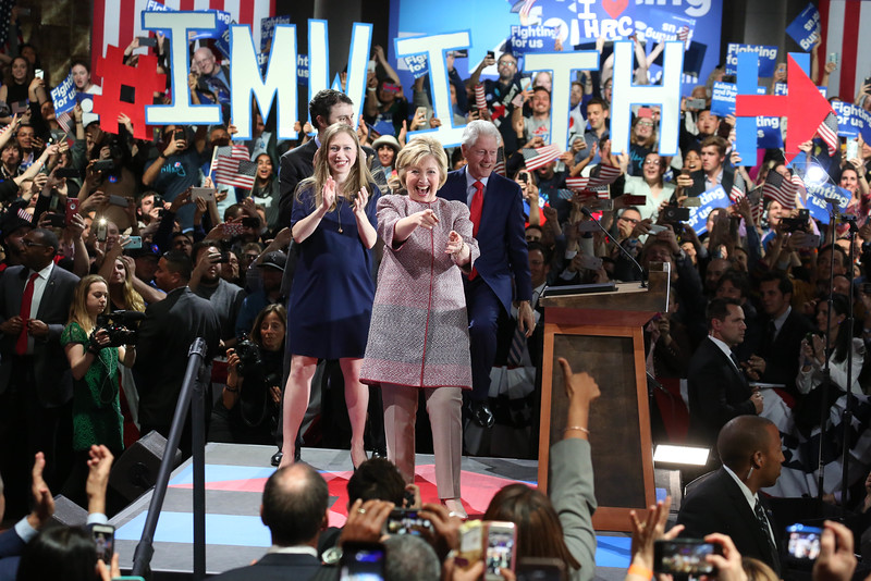 """Hillary Clinton celebrated her primary victory in her home state of New York and seemed ready to shift into general election mode on Tuesday night 19th April 2016,Clinton said she was deeply grateful for the support Democrats showed her once again in New York. Voters elected previously elected her twice to the U.S. Senate in 2000 and 2006.""""New Yorkers, you've always had my back, and I've always tried to have yours,"""" she said. """"Because of you, this campaign is the only one -- Democratic or Republican -- to win more than 10 million votes.""""...pic Mohammed Jaffer-SnapsIndia"""
