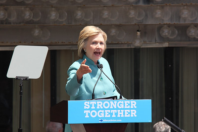 Hillary Rodham Clinton speaks on Boardwalk Hall in Atlantic City, New Jersey