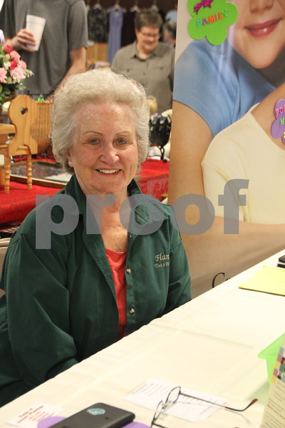 Saturday, May 7. 2016 the Webster County Fairgrounds in Fort Dodge held the Hillbilly Sale Flea Market. Shown here is: Marge Flannery, another of the vendors at the Flea Market event. Her booth was located inside the main building.