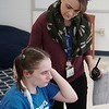 BEN GARVER — THE BERKSHIRE EAGLE<br /> Yvette Stoddard, Director of Academic Services, ASD (Autism spectrum disorder)  comforts Brittany, age 20, in the  Vocational classroom at Hillcrest Academy in the former St. Marks School building in Pittsfield, Monday January 8, 2018.  Hillcrest Academy is a school for students with autism, social and emotional disorders and others students who require the highest level of professional services.