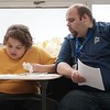 BEN GARVER — THE BERKSHIRE EAGLE<br /> Patrick Tuthill (right) works with Alex, 11,  at Hillcrest Academy in the former St. Marks School building in Pittsfield, Monday January 8, 2018. Hillcrest Academy is a school for students with autism, social and emotional disorders and others students who require the highest level of professional services.
