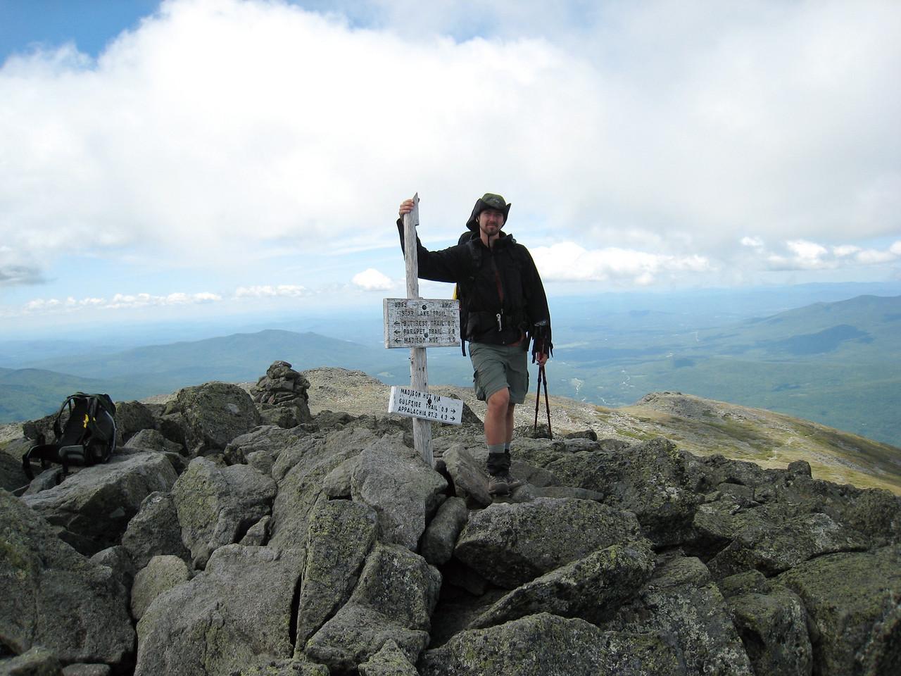 Steve at the Mt. Elisha Summit Sign