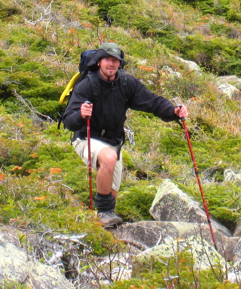 Steve Takin' a Break Going up Mt. Bond