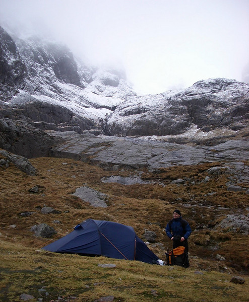 Camping at the bottom of the NE face of the Ben, near the CIC Hut