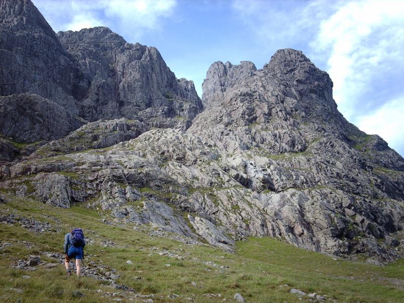 Approaching the bottom of Castle Ridge, Ben Nevis.