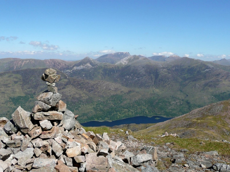 The Mamores and Ben Nevis from Stob Coire Leith on the Aonach Eagach