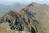 Looking west along the Aonach Eagach from Meall Dearg