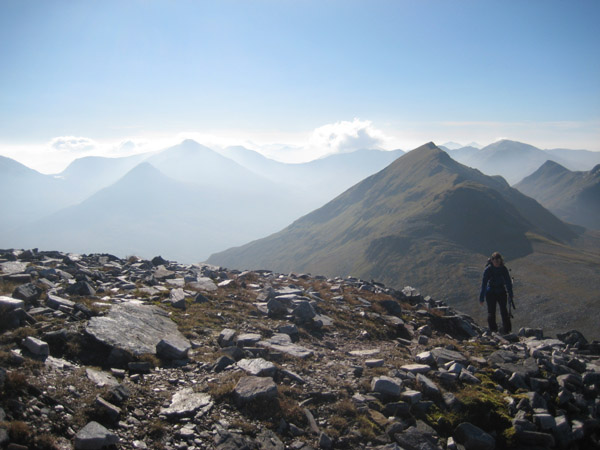 On the Grey Corries ridge with the Mamores in the background