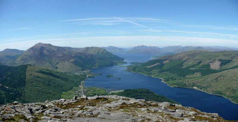 View west over Loch Leven to Ardgour, from the top of the Pap of Glencoe