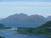 Looking across the Ballahullish Bridge from the Pap of Glencoe, to Garbh Bheinn in Ardgour.