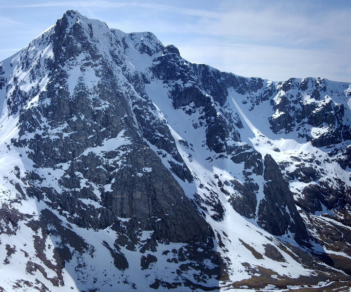 NE face of Ben Nevis showing North East Buttress and Tower Ridge.
