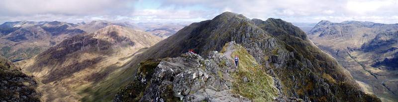 Looking east along the Aonach Eagach ridge.
