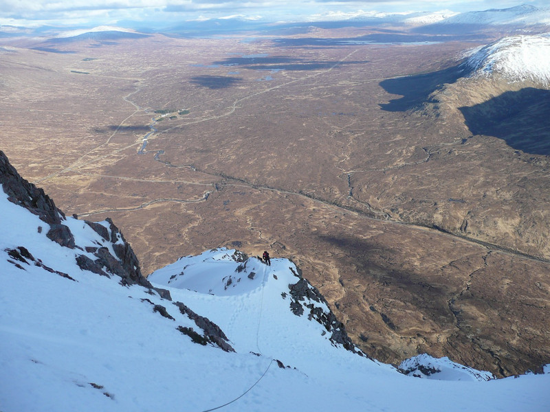 Top of Curved Ridge on Bidean nam Bian, Glen Coe. Rannoch Moor below.