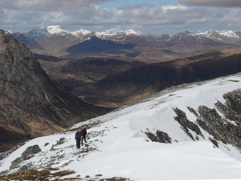 On Creise with the Buachaille just visible on the left and Ben Nevis in the distance