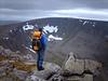 Neil at the top of Sgor an Lochan Uaine (Angel's Peak) looking across<br /> Garbh Coire.