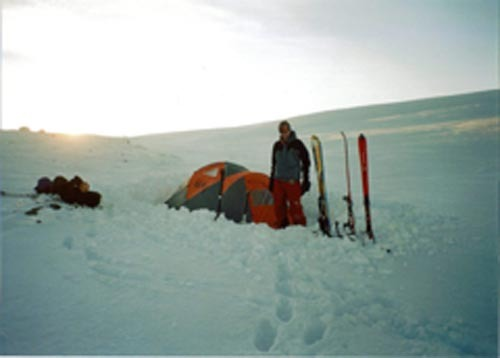 Graham ski touring and camping in the Cairngorms.