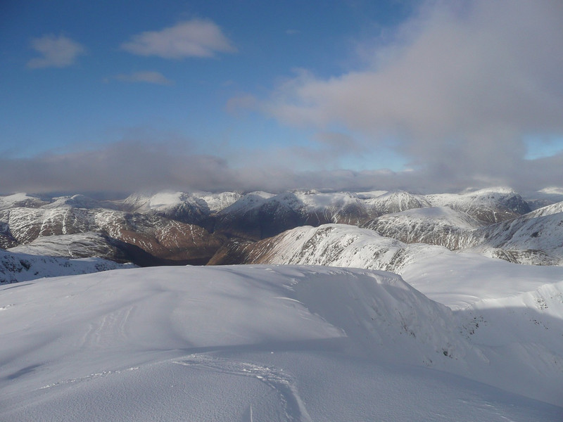View north towards Glencoe hills, from top of Stob Ghabhar