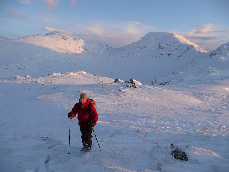 Fraser coming down off Cruach Ardrain in lovely winter conditions