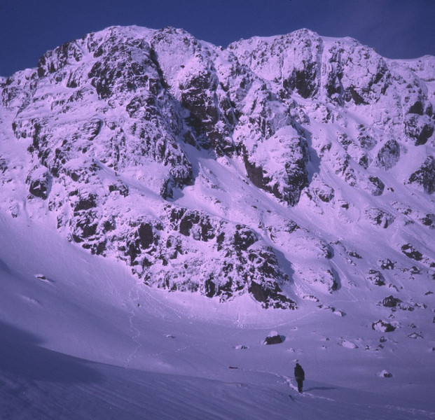 Walk in to Creag Tharsuinn, Arrochar area, to do a winter route.