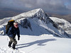 Approaching the top of Ben Cruachan with the Taynuilt Peak behind