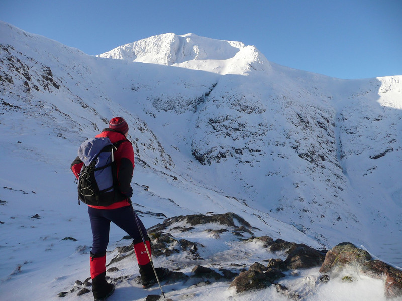 Graham looks to the top of Stob Ghabhar
