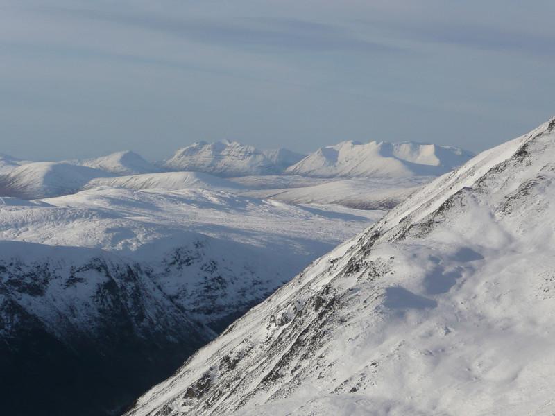 Distant Torridon pair of Liathach and Beinn Eighe.