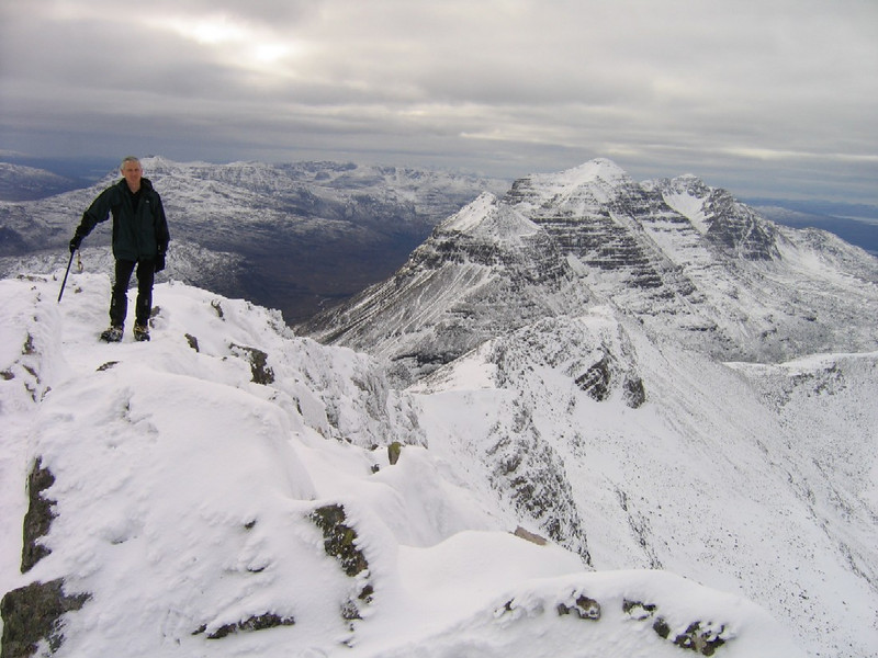 Craig on Beinn Eighe with Liathach behind.