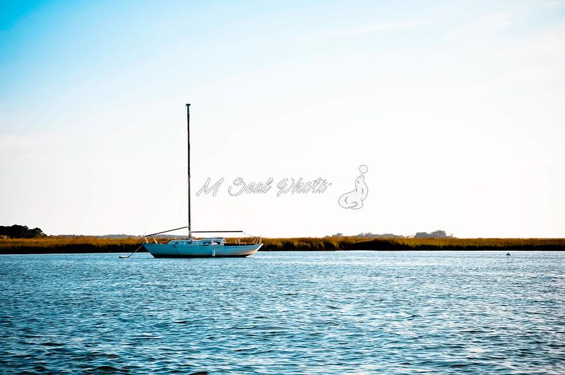 lone sailboat