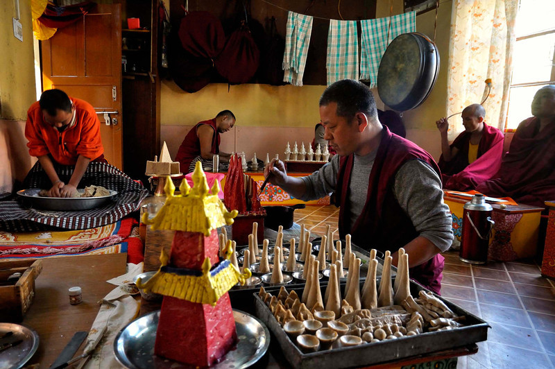 "Making ""tormas"" in a monastery, Mcleodganj"