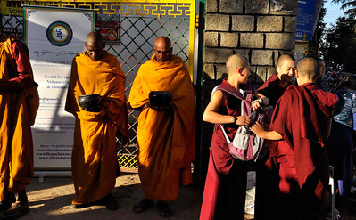 Monks outside the Dalai Lama's temple