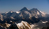 Changtse (7553m, sunlit peak at left), Nuptse, (7855m), Everest (8848m), Lhotse (8516m), Lhotse Shar (8400m), Shartse I (7502m) and Cho Polu (6734m), 9 December 2007 - 0823    Looking north east.  My last close look at the Everest group.