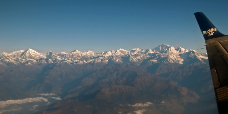 Langtang Lirung (7225m, left) and Shisha Pangma / Gosainthan (8027m), 9 December 2007 - 0802   Looking north.