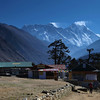 Tengboche; looking towards Everest which is just peeking over the Nuptse-Lhotse ridge. The bakery (green roof) dishes up seriously good fodder and is thoroughly recommended.