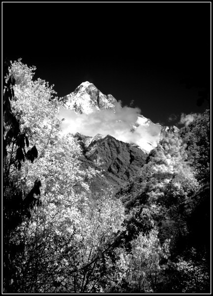 View towards Kong de Ri from the Lukla to Phakding trail - an infra-red picture