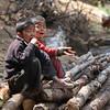 Two boys passing time at Phakding