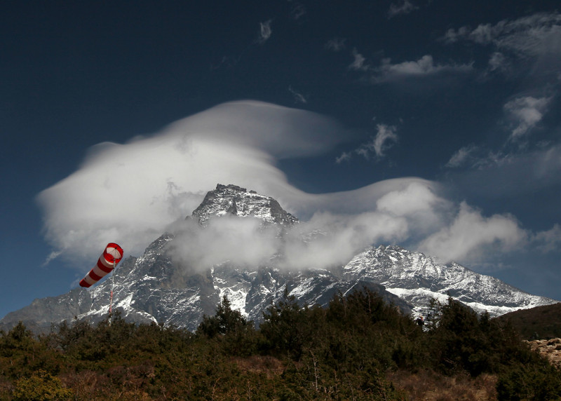 Windsock at Syanboche (highest landing strip in the world) with Mount Khumbila as a backdrop.
